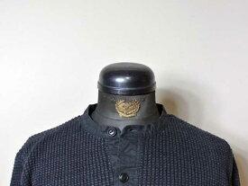 【RRL&CO./ダブルアールエル】Cotton-Linen Henley Sweater/コットンリネン×オイルドコットン・ヘンリーネック・ワッフルセーター/ブラックインディゴ染め (ヴィンテージ・ミリタリー)