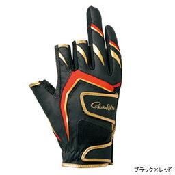 gamakatsu雙皮帶釣魚手套(3本切)GM-7263 L黑色×紅