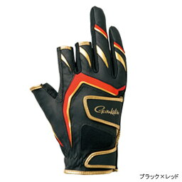 gamakatsu雙皮帶釣魚手套(3本切)GM-7263 LL黑色×紅