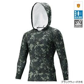 【8月25日エントリーで最大P36倍!】シマノ SUN PROTECTION ロングスリーブフーディシャツ IN-062Q M ブラックウィードカモ