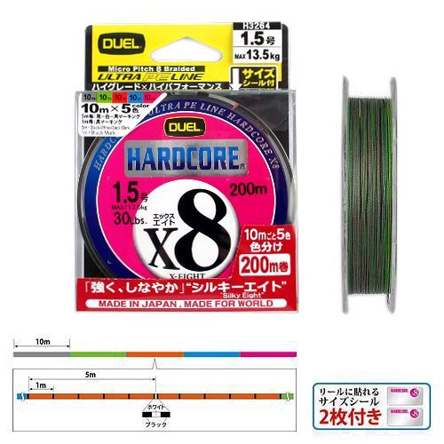 デュエル ハードコア X8 200m 1.5号 マーキングシステム【duel1503】【ゆうパケット】