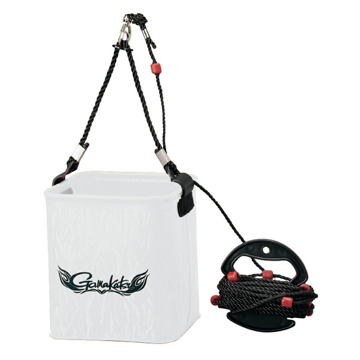 がまかつ 水汲みバケツ(ロープ巻付) GM-2440 小 ホワイト