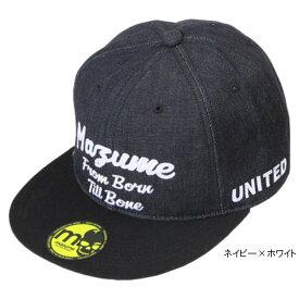 mazume FLAT CAP デニムII MZCP-409 フリー ネイビー×ホワイト