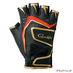 gamakatsu雙皮帶釣魚手套(5本切/短)GM-7265 LL黑色×紅
