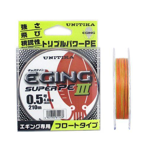ユニチカ(UNITIKA) キャスライン エギングスーパーPEIII 210m 0.5号 オレンジ/イエローグリーン/ホワイト