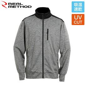 リアルメソッド 吸湿速乾UVフルジップジャケット L 杢チャコールグレー REAL METHOD