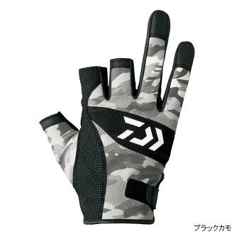 大和(Daiwa)灯伪装手套3只cut DG-8007 L黑色野鸭