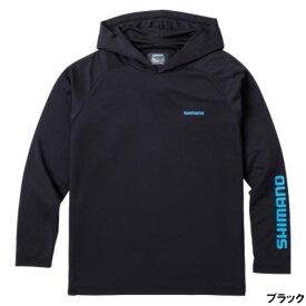 シマノ サンプロテクション プリントフーディ L ブラック WJ-044T