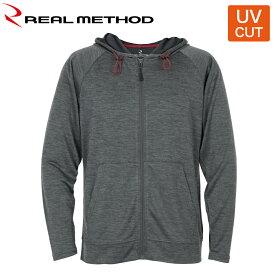 リアルメソッド UVカットメッシュパーカー LL 杢ブラック REAL METHOD