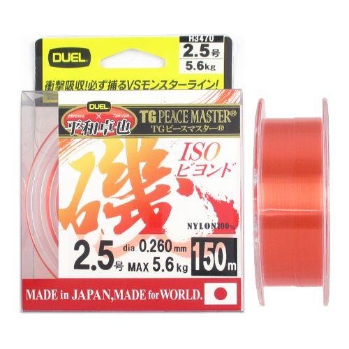デュエル TG ピースマスター 磯 ビヨンド 150m 2.5号 クリアーオレンジ【ゆうパケット】