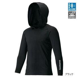 【8月25日エントリーで最大P36倍!】シマノ SUN PROTECTION ロングスリーブフーディシャツ IN-062Q XL ブラック