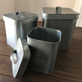 ブリキ ボックス 3個セット(S/M/L各1個セット)ブリキ 缶 収納 パーティカルボックス レトロ ボックス ケース カフェ 小物入れ キッチン 雑貨 NUMBER(ナンバー)