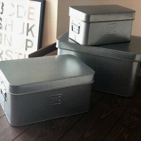 ブリキ 小物入れ 3個セット(S/M /L各1個)レトロ 収納ボックス ケース ボックス 缶 収納 キッチン 雑貨 番号付き NUMBER(ナンバー)蓋付き おしゃれ