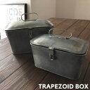 ブリキ 小物入れ (S/L各1個セット)収納ボックス シャビー レトロ かわいい ボックス 収納ケース トラペゾイドボックス シャビー カフェ 缶 蓋付き おしゃれ アクセサリーケース ボックス