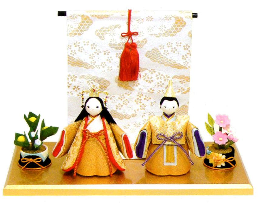 雛人形(ひな人形) 『金色立姿雛』几帳付黄金台セット手作りちりめん細工 和雑貨 なごみ かわいい  コンパクト  リュウコドウ ひなまつり  【送料無料】一部地域を除く
