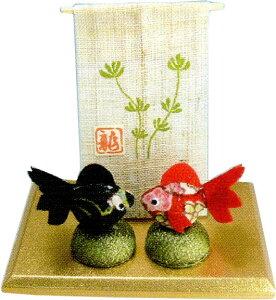 ミニ麻几帳 金魚2匹 手作りちりめん細工 和雑貨  夏の風物詩 リュウコドウ
