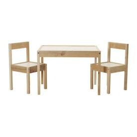 【IKEA Original】LATT 子供用テーブル チェア2脚付 ホワイト パイン材