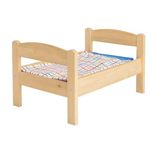 【IKEA Original】DUKTIG おもちゃの人形用ベッド ベッドリネンセット付き パイン材 マルチカラー おままごと -イケア-