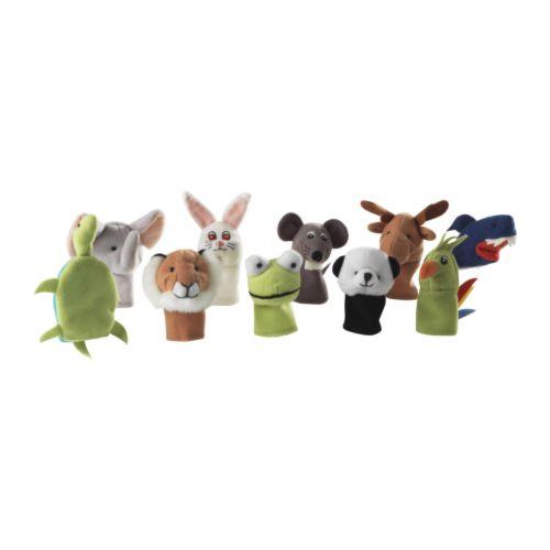 【IKEA Original】TITTA DJUR ソフトトイ ぬいぐるみ 指人形 アソートカラー 10ピース