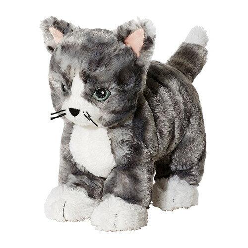 【IKEA Original】LILLEPLUTT ソフトトイ ぬいぐるみ ネコ グレーホワイト