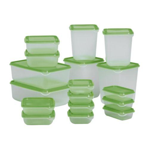 【IKEA Original】PRUTA フードキーパー17個セット 透明/グリーン