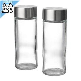 【IKEA Original】ORTFYLLD -オルトフィルド- スパイス瓶 ガラス ステンレススチール 10cl 2ピース
