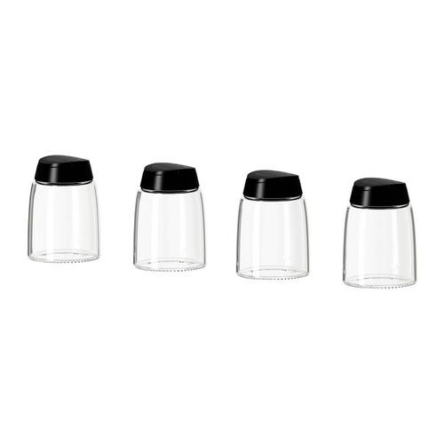 【IKEA Original】IKEA 365+ IHARDIG スパイス瓶 ガラス ブラック 15 cl 4 ピースセット