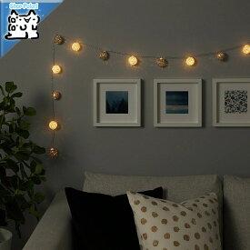 【IKEA Original】LIVSAR -リーヴソール- LEDライトチェーン 全12球 室内用 電池式 グレー/ホワイト 2.1 m