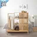 【IKEAOriginal】NORDKISA収納棚オープンワードローブ引き戸付き竹120x123cm
