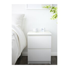 【IKEA Original】MALM-マルム- チェスト(引き出し×2)ベッドサイドテーブル ホワイト 40×55cm