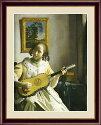 【西洋画・複製画】フェルメールギターを弾く女F652×42cm木製フレーム