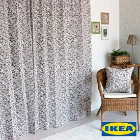 花柄 カーテン【シグブリット】【IKEA】レッド 赤 綿100% おしゃれ 子供部屋 小花 リバティ カフェ 外国 イケア オーダーカーテン 女の子 ガーリー 人気 かわいい