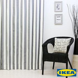 カーテンストライプ【IKEA】ソフィアグレー綿100%北欧おしゃれカーテンボーダー輸入ピッタリサイズシンプル目隠し試着室オーダーメイドモノクロモノトーン男性新生活一人暮らしオシャレかっこいい