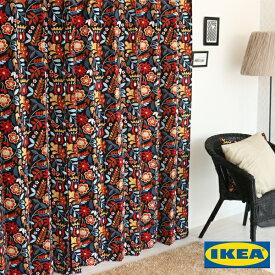 北欧カーテン 【タイガーオガ】【IKEA】花柄 綿100% おしゃれ デザイナーズ 自然素材 モダン イケア ブラウン オーダーカーテン リビング 人気 定番