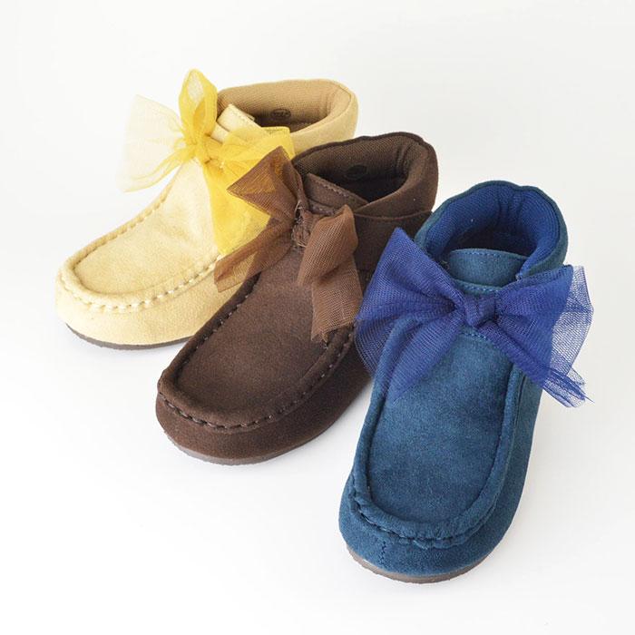 ポプキンズ チュールリボンスエードショートブーツ ワラビー風 コゲチャ ベージュ コン 3色展開 サイズは15cmから22cm 8サイズ展開 POMPKINS