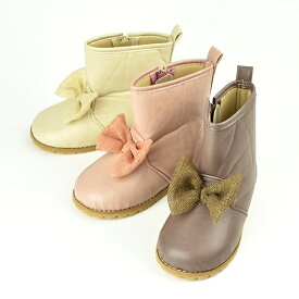 POMPKINS ポプキンズ 柔らか合皮のチュールリボンつきベビーブーツ アイボリー/グレ−/ピンク 3色展開 13cm/14cm/15cm 全3サイズ 日本製 MADE IN JAPAN 2721502 子供靴 子供ブーツ キッズブーツ 女の子用ブーツ