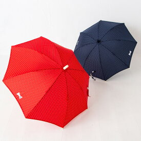 ポプキンズ ドット柄の傘 グラスファイバー製の骨で錆びにくく丈夫 45/50/55cm 3サイズ展開 コン アカの2色展開 POMPKINS リフレクター(反射シート)つき 子供傘 かさ キッズパラソル 雨傘