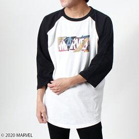 【MARVEL(マーベル)/アベンジャーズ】マーベルロゴ/七分丈ラグランスリーブTシャツ