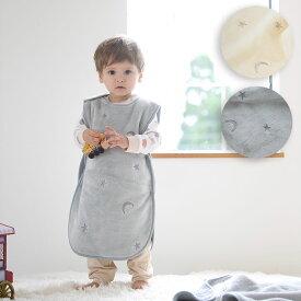 スリーパー 【スター×ムーン 】 フランネル 星と月の刺繍入り 赤ちゃん 防寒 秋 冬 出産祝い 男の子 女の子 おしゃれ