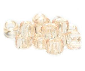 【大きな穴が特徴のビーズ】シャンパン 透明 9x6mm(標準) バレル ポニービーズ(約100個)