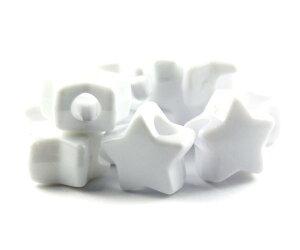 【大きな穴が特徴のビーズ】ホワイト 不透明(Opaque) 13mm スター ポニービーズ (約50個)