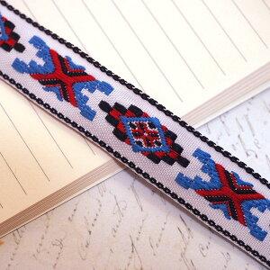 オルテガ チロリアンテープ リボン ネイティブ柄(オルテガ柄)ブレード 50cm(ホワイト×ブルー×レッド)チロリアン チロル テープ リボン おしゃれ ピアス 材料 素材 パーツ 手芸 バレッタ
