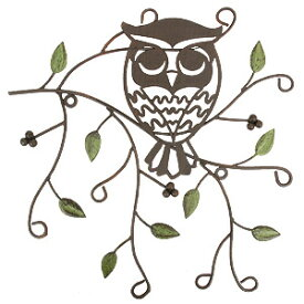ウォールデコレーション OWLリーフ S(YFH-1400)フクロウ ふくろう 雑貨 アイアン 飾り 壁飾り ガーデニング ディスプレイ 壁掛け 玄関 ウォールデコ アンティーク レトロ インテリア オーナー雑貨