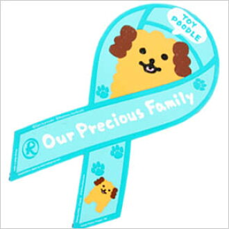 """Ribbon magnet """"Our Precious Family"""" toy poodle poodle / miscellaneous goods / stationery / goods / dog / dog"""