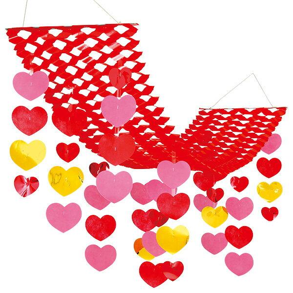 バリューラブリーハートプリーツハンガー(赤)|バレンタインの吊り装飾