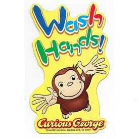 おさるのジョージ(キュリアスジョージ) ステッカー 手洗い 11425 手を洗ってね シール 知育 Wash Hands キャラクター グッズ 送料込み メール便配送