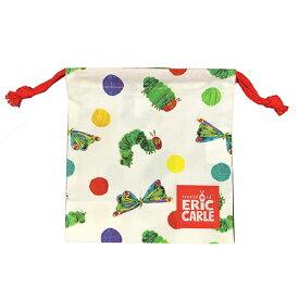 はらぺこあおむし ランチ袋 (ミニ) ドット 14298 エリックカール 巾着 コップ巾着 コップ袋 ランチグッズ 袋 入学準備 入園準備 遠足 キャラクター 水玉 ランチ巾着 雑貨 グッズ 子ども 男の子 女の子 メール便配送