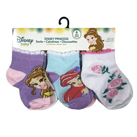 ディズニープリンセス ベビー 靴下 6P セット13777 9-12cm グッズ ベビー キッズ 子供 子ども 赤ちゃん 女の子 かわいい キャラクター ソックス ベル アリエル 輸入品 インポート メール便配送