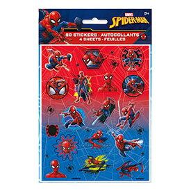 スパイダーマン シールステッカー 4シート 15118 マーベル 80ステッカー シール キャラクター グッズ Disney MARVEL デコ デコレーション かっこいい パーティー 男の子 ごほうび 輸入 インポート メール便配送