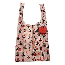 ムーミン (リトルミイ りんご) エコバッグ エコット ECOT 15260 総柄 マチ付き レッド ピンク リトルミィ コンパクト 収納 ダイカット セカンドバッグ ショッピングバッグ MOOMIN 女の子 バッグ かばん かわいい キャラクター グッズ 男女兼用 送料込み